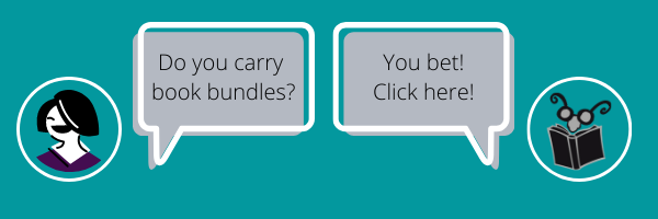 "Chat window from femme person asking ""Do you carry book bundles?""  Read Between the Lynes Book and Glasses Logo responds ""You Bet! Click Here!"" links to Book Bundles page."