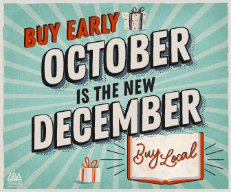 Buy Early, October is the new December. Buy Local written in cursive in an open book.