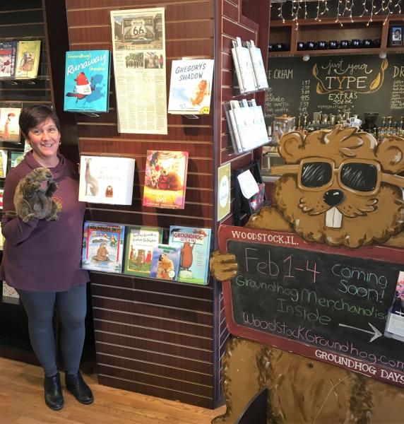 The owner, Arlene Lynes, with Groundhog Day merchandise