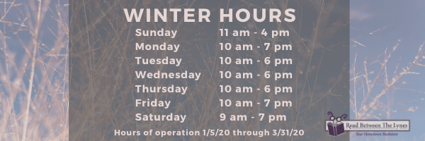 Winter Hours from January 5th through March 31st. Sundays are 11am to 4pm. Mondays and Fridays are 10am to 7pm. Tuesdays, Wednesdays, and Thursdays are 10am to 6pm. Saturdays are 9am to 7pm.